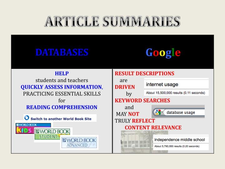 ARTICLE SUMMARIES