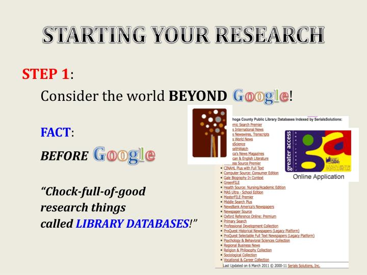 Starting your research