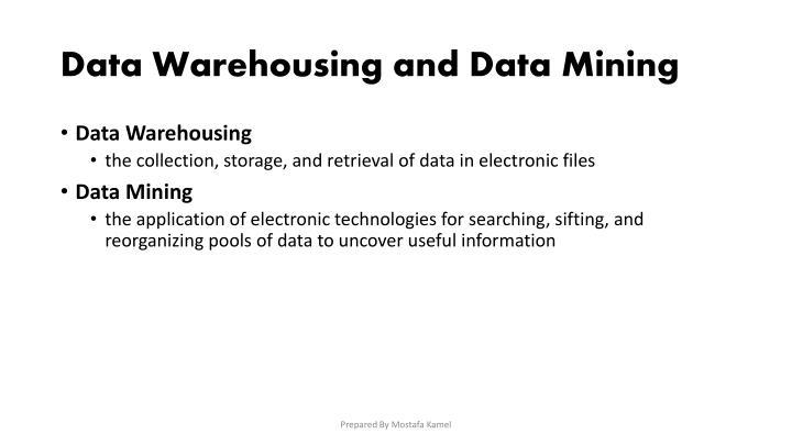 Data Warehousing and Data Mining