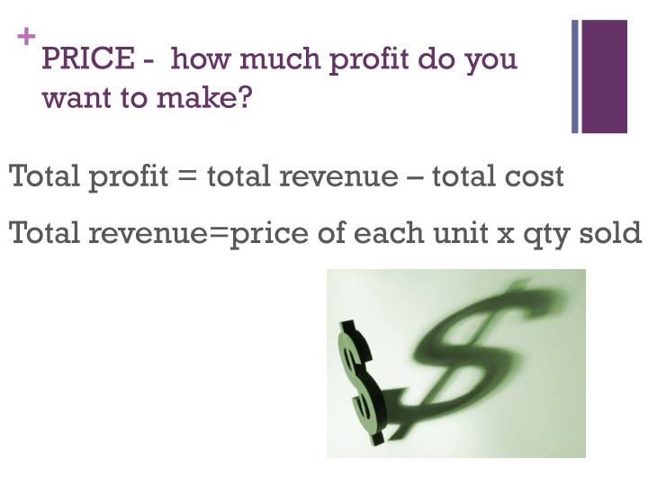 PRICE -  how much profit do you want to make?