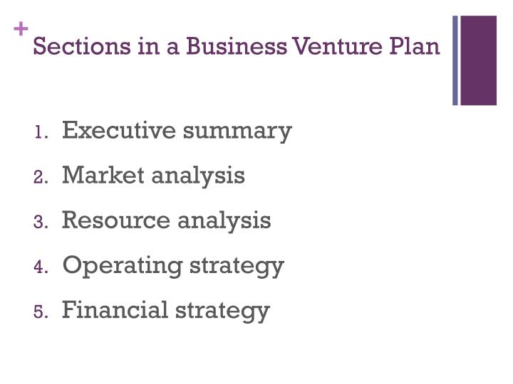Sections in a business venture plan