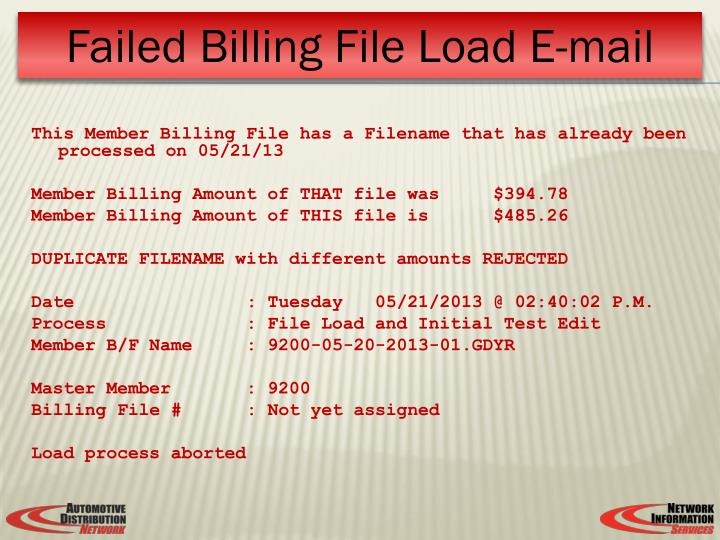 This Member Billing File has a Filename that has already been processed on 05/21/13
