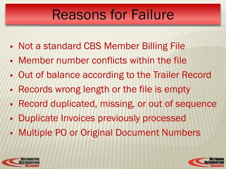 Not a standard CBS Member Billing File