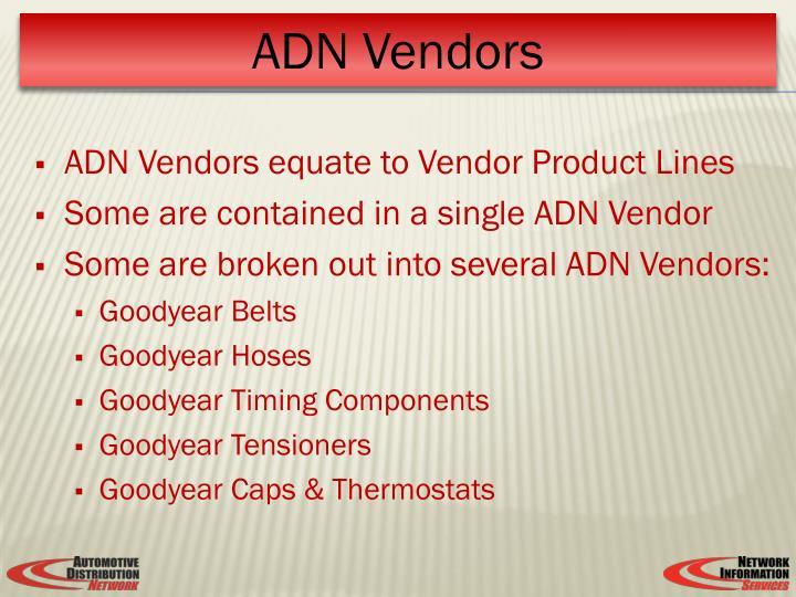 ADN Vendors equate to Vendor Product Lines