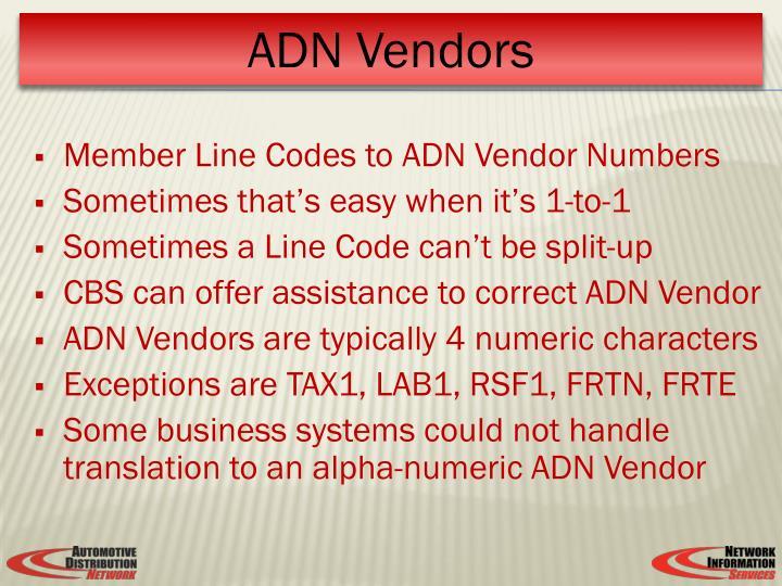 Member Line Codes to ADN Vendor Numbers