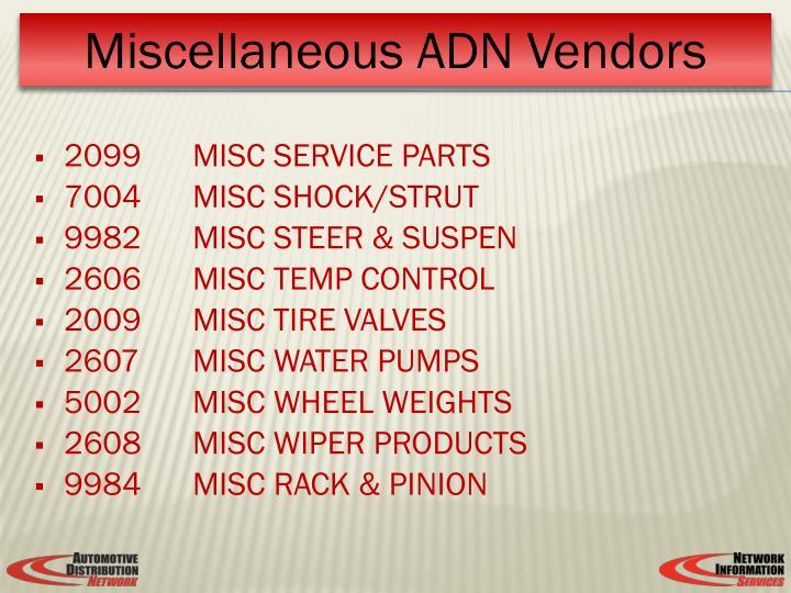 2099MISC SERVICE PARTS
