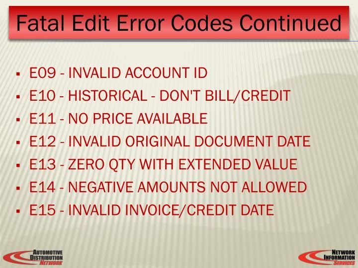 E09 - INVALID ACCOUNT ID