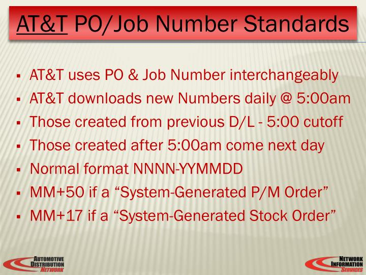 AT&T uses PO & Job Number interchangeably