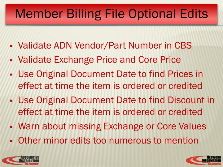 Validate ADN Vendor/Part Number in CBS