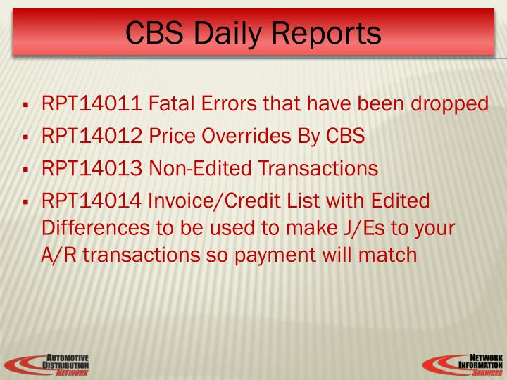 RPT14011 Fatal Errors that have been dropped
