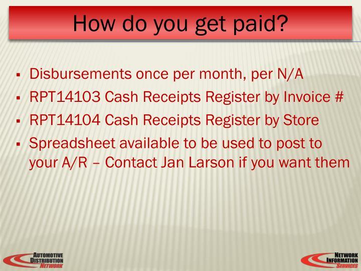 Disbursements once per month, per N/A