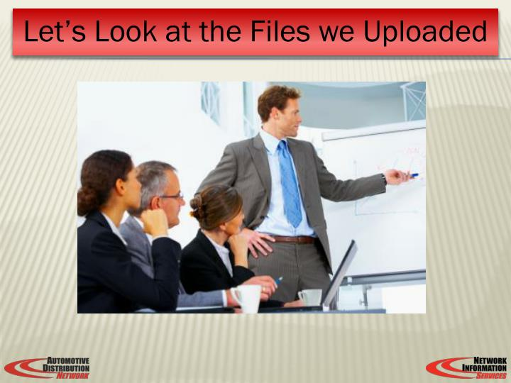 Let's Look at the Files we Uploaded