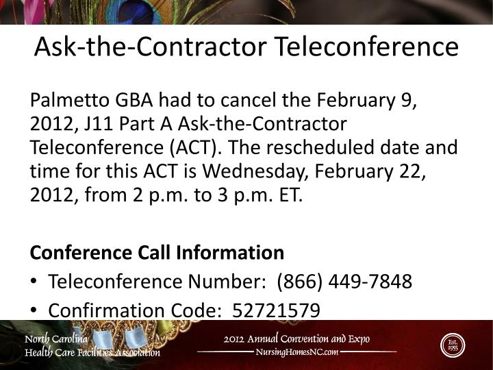 Ask-the-Contractor Teleconference