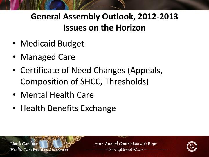 General Assembly Outlook, 2012-2013