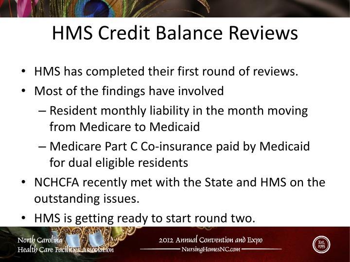 HMS Credit Balance Reviews