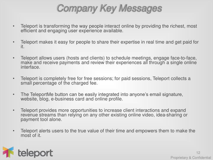 Company Key Messages