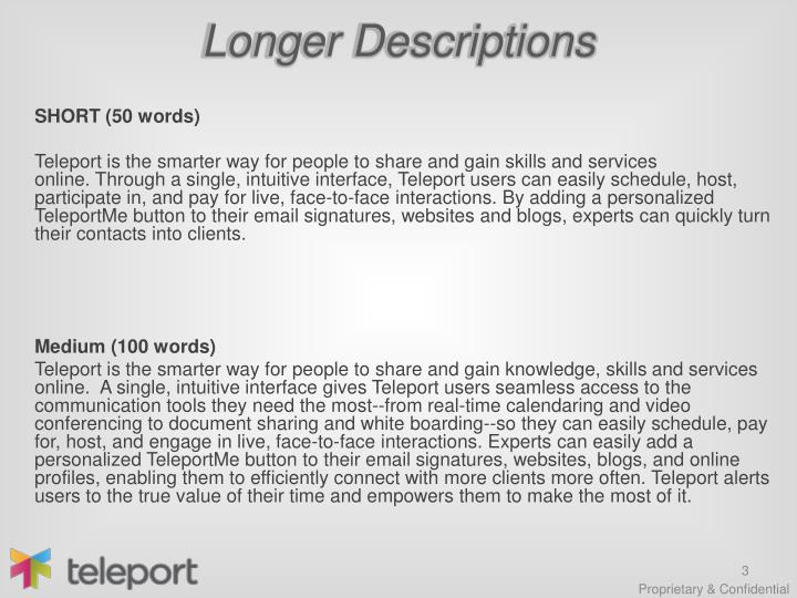 Longer descriptions