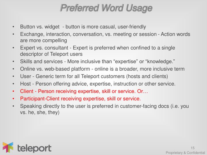 Preferred Word Usage