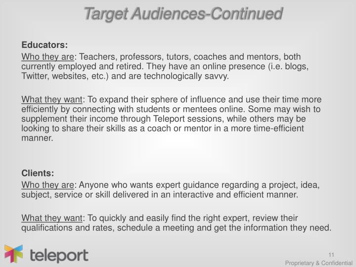 Target Audiences-Continued