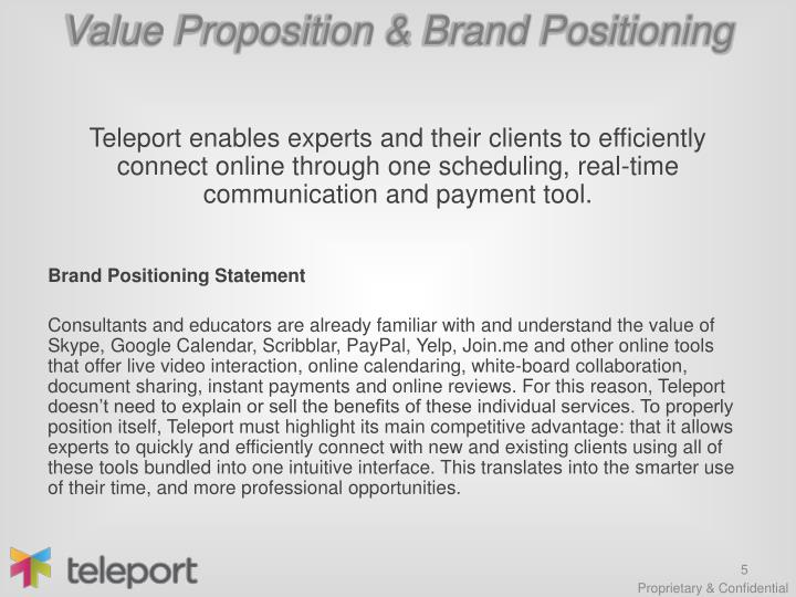 Value Proposition & Brand Positioning