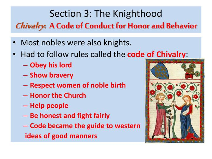 chivalry the code of knightly behavior 12062018 chivalry, the order of knighthood, and especially, the code of knightly behavior, comes from many origins in middle english, the word chevalrie meant.