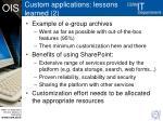 custom applications lessons learned 2