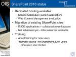 sharepoint 2010 status