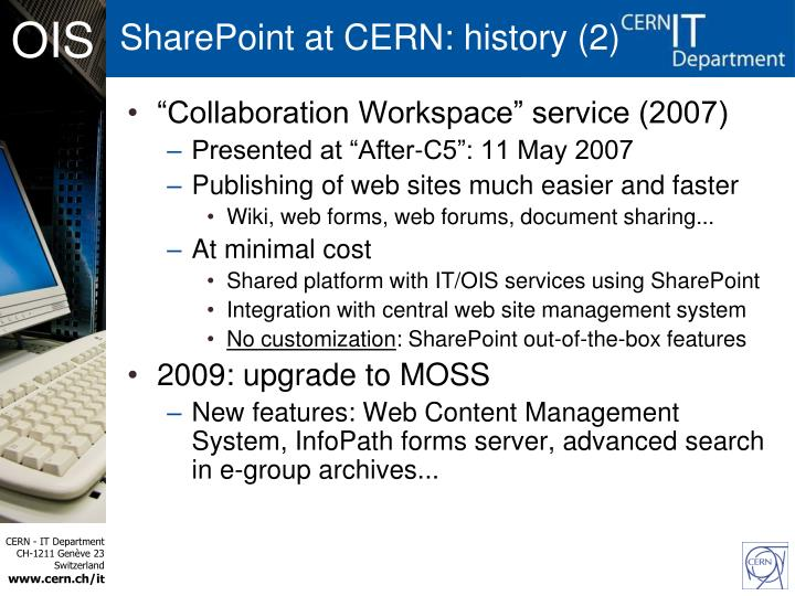 SharePoint at CERN: history (2)
