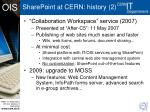 sharepoint at cern history 2