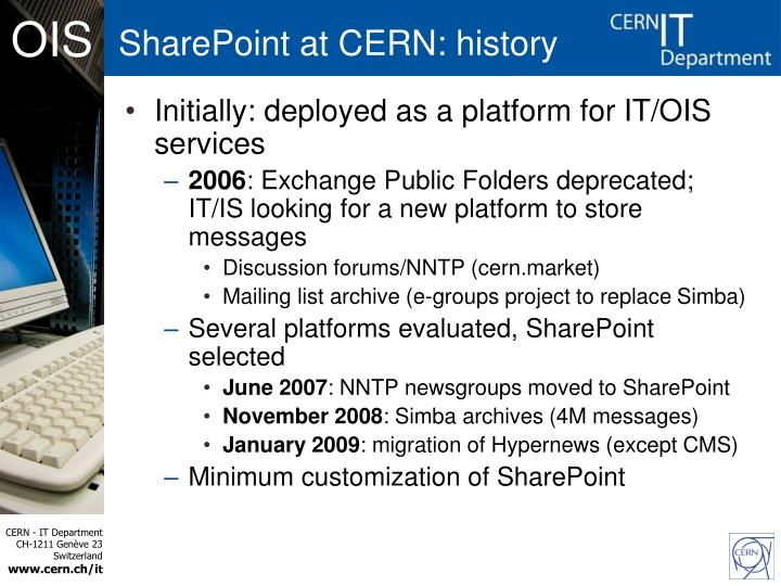 SharePoint at CERN: history
