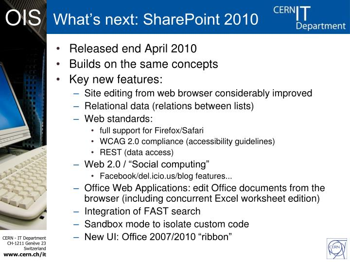 What's next: SharePoint 2010