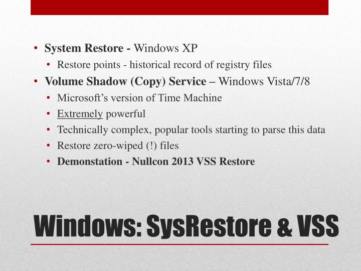 System Restore -