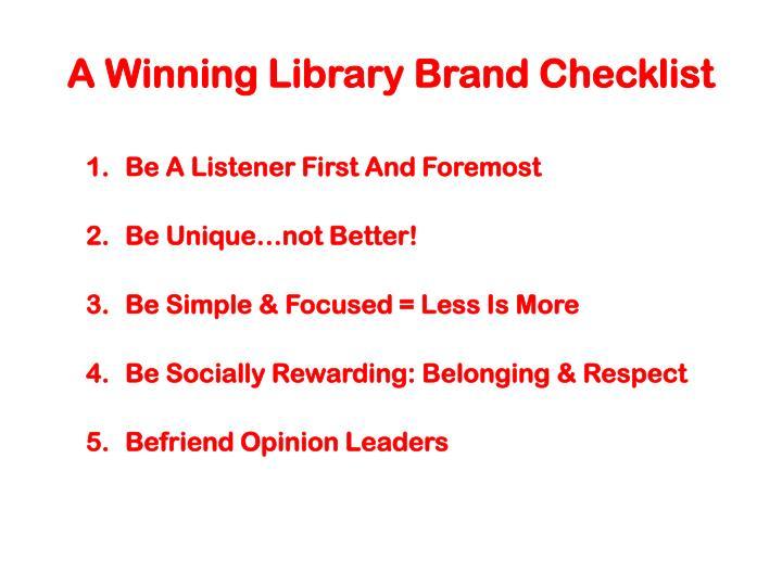 A Winning Library Brand Checklist