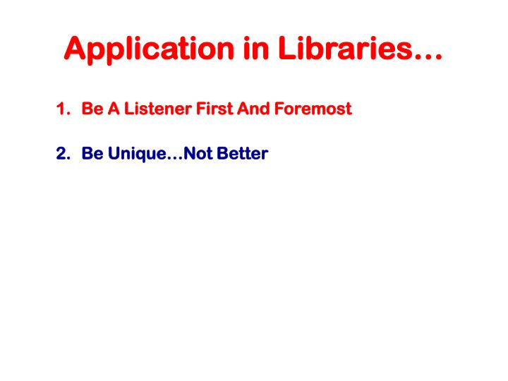 Application in Libraries…