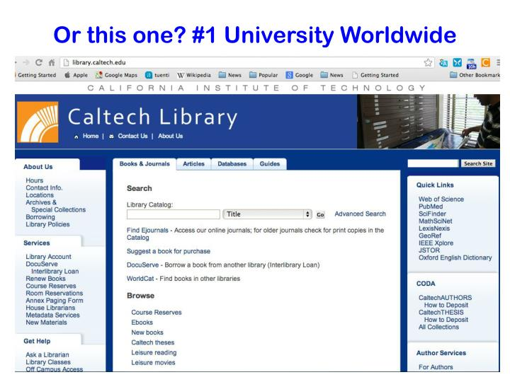 Or this one? #1 University Worldwide
