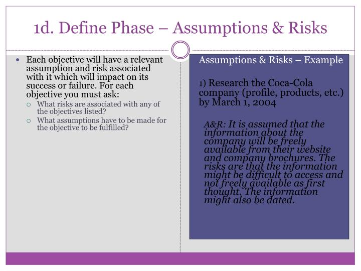 1d. Define Phase – Assumptions & Risks
