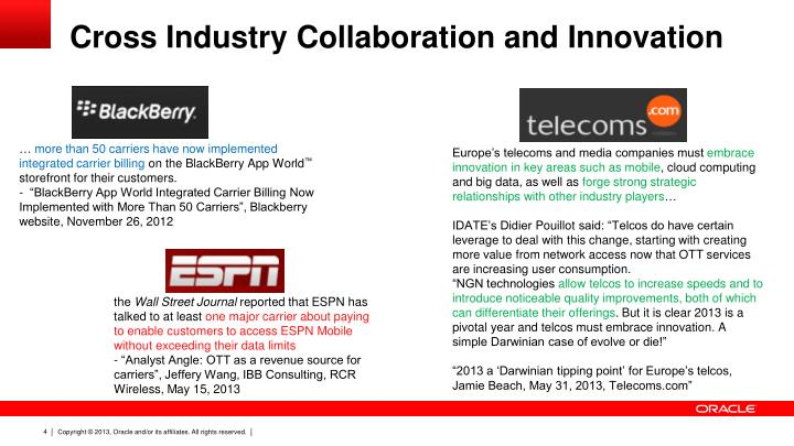 Cross Industry Collaboration and Innovation