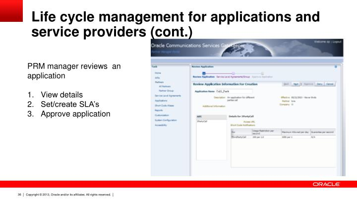 Life cycle management for applications and service providers (cont.)