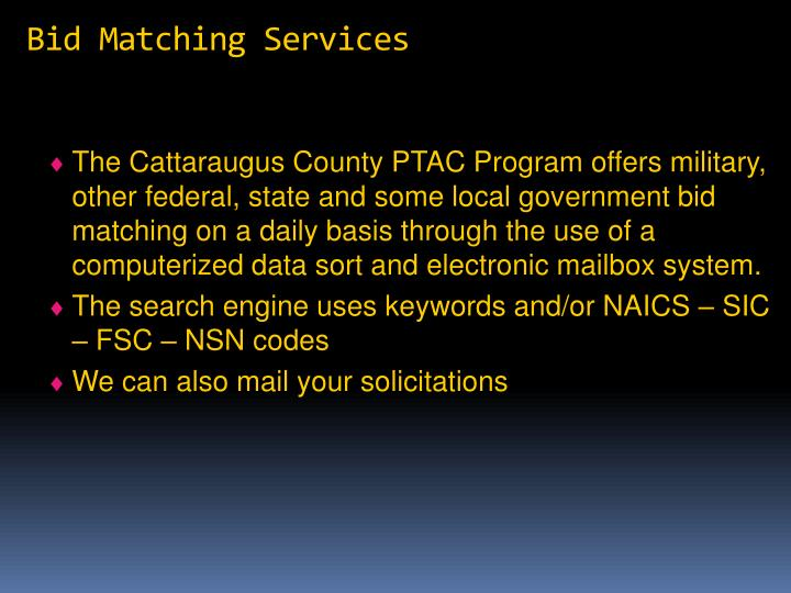 Bid Matching Services
