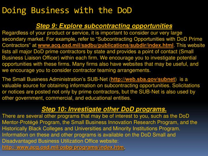 Doing Business with the DoD