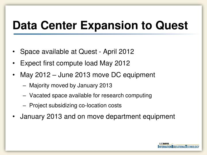 Data Center Expansion to Quest