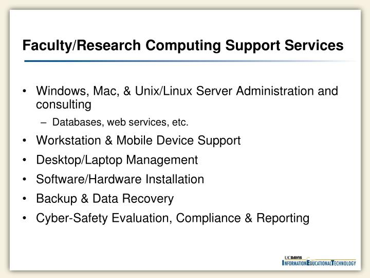 Faculty/Research Computing Support Services