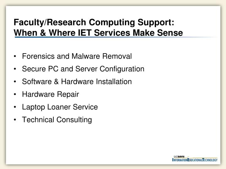 Faculty/Research Computing Support: