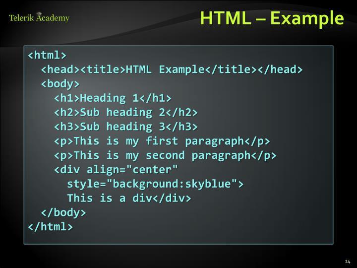 HTML – Example