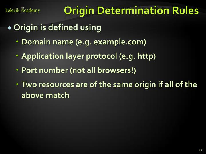 Origin Determination Rules