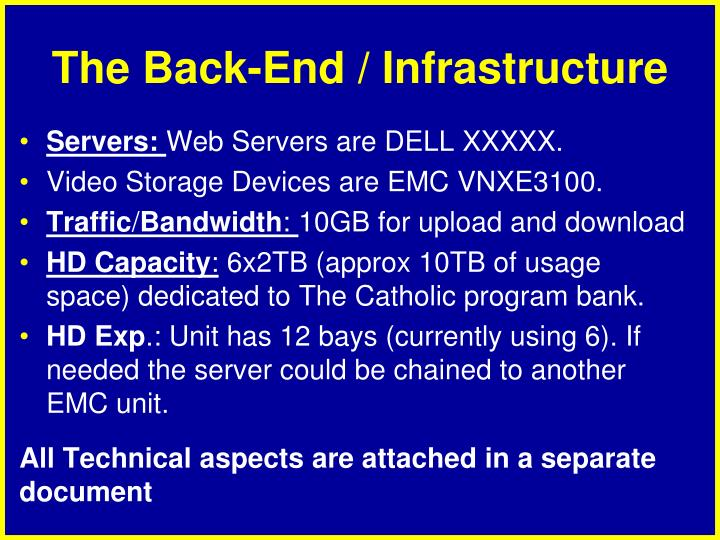 The Back-End / Infrastructure