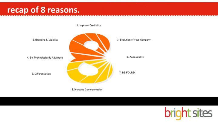recap of 8 reasons.