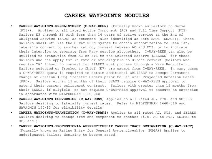 CAREER WAYPOINTS MODULES