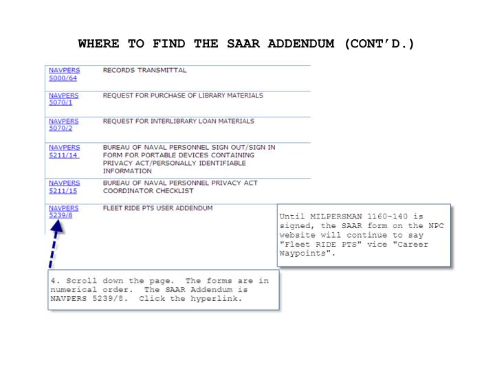 WHERE TO FIND THE SAAR ADDENDUM (CONT'D.)