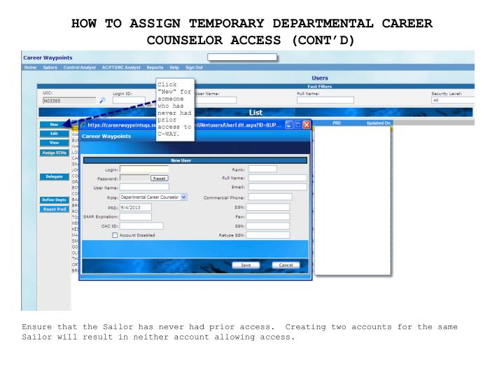 HOW TO ASSIGN TEMPORARY DEPARTMENTAL CAREER COUNSELOR ACCESS (CONT'D)